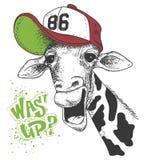 Печать с изображениями жирафа и текстом, влиянием grunge, дизайном футболки иллюстрация вектора