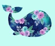 Печать с китом иллюстрация штока