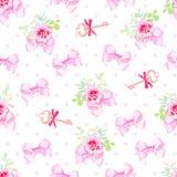Печать с милыми смычками сатинировки, розовый цветок романтичного вектора безшовная Стоковые Фото