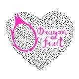 Печать с сердцем и плодоовощ дракона Еда Vegan Иллюстрация вектора лета милая Стоковые Фотографии RF
