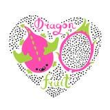 Печать с сердцем и плодоовощ дракона Еда Vegan Иллюстрация вектора лета милая Стоковая Фотография RF