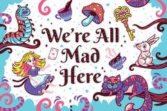 Печать с характерами от Алисы в стране чудес иллюстрация штока