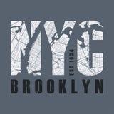 Печать тройника Нью-Йорка Typograp ярлыка штемпеля графиков дизайна футболки иллюстрация штока