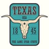 Печать тройника положения Техаса с черепом лонгхорна иллюстрация штока