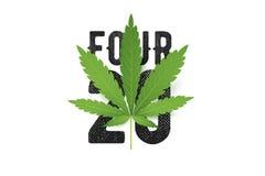 Печать футболки вектора Four-twenty с реалистическими лист марихуаны Схематическая иллюстрация культуры конопли иллюстрация штока
