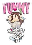 Печать футболки мороженого Стоковое Фото