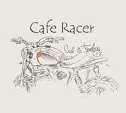 Печать футболки мотоцикла гонщика кафа винтажной нарисованная рукой Бесплатная Иллюстрация