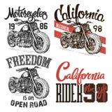 Печать футболки мотоцикла графическая Иллюстрация вектора
