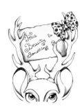 Печать футболки оленей красоты Стоковая Фотография RF