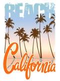 Печать футболки пляжа Калифорнии Иллюстрация штока