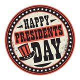 Печать цвета Grunge с президентами Днем шляпы и текста счастливыми иллюстрация вектора