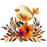 Печать цветка поля с птицей иллюстрация вектора