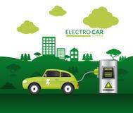 Печать электрического автомобиля бесплатная иллюстрация