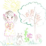Illustration on the theme of children`s drawings girl with cats. The illustration on the theme of children`s drawings girl with cats can find its application in stock photo