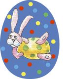 Blue happy easter egg on a white background in multicolored circles with watercolor pattern in the middle - pink rabbit with yello vector illustration
