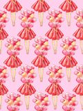 Seamless pattern of watercolor illustration of a faceless girl in a red dress holding a bunch of alloons on a pink background vector illustration