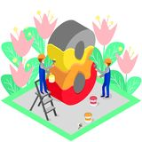 Colorful multilayer number eight in isometry royalty free illustration