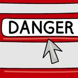 Danger - internet concept. Browser with an arrow. Vector graphics vector illustration
