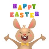 ПечатьHappy Easter Greeting Card with Bunny. Cute Easter Bunny with Colorful Egg ans Carrots. Vector illustration. Happy Easter Greeting Card vector illustration