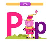 Letter P and funny cartoon pig. Animals alphabet a-z. Cute zoo alphabet in vector for kids learning English vocabulary. Printable. Letter P and funny cartoon pig royalty free illustration