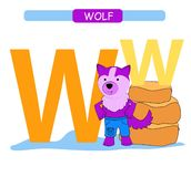 Letter W and funny cartoon wolf. Animals alphabet a-z. Cute zoo alphabet in vector for kids learning English vocabulary. Printable. Letter W and funny cartoon royalty free illustration