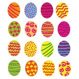Easter eggs isolated set with sketch details decorated bright background. Vector pattern with colourful eggs royalty free illustration
