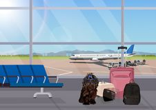 Airport waiting room, dog in the foreground. Terminal interior, panoramic window, airplane. Time to travel. Travel concept, vector illustration stock illustration