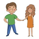 Boy and girl hold hands. man and woman on white stock illustration