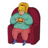 Fat girl eating a burger on a chair. fattened woman eating junk food. stock illustration