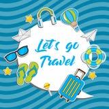 Let`s go Travel. Summer Travel sticker set collection, Vector isolated illustration. On blue background stock illustration