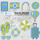 Let`s go Travel. Summer Travel sticker collection, Vector isolated illustration on light grey background. With maps royalty free illustration