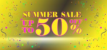 Colored inscription summer Sale 50% off and lavender on a yellow background. stock illustration