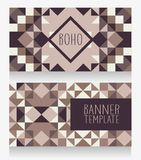 Template for business cards with geometric boho style ornament. Gray colors, vector illustration vector illustration