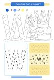 Letter W and funny cartoon wolf. Animals alphabet a-z. Coloring page. Printable worksheet. Handwriting practice. Connect the dots. Letter W and funny cartoon stock illustration