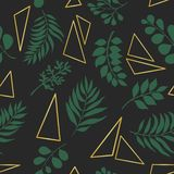 Trendy seamless pattern with exotic leaves and golden triangles. stock illustration