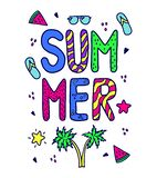 Bright font summer composition. Print on clothes. stock illustration