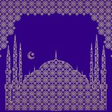 Silhouette of a mosque, a crescent with a star, in an arch from a traditional openwork oriental vector ornament.Free for text. royalty free illustration