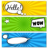 Hello! WOW! Comic speech bubbles. Pop art vector label illustration. Vintage comics book poster on green background. Colored funny font royalty free stock photo