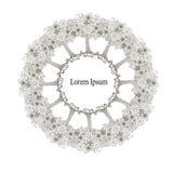 Tree circle flowers monochrome background, Lorem Ipsum design element stock vector. Illustration for web, for print stock illustration