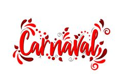 Carnaval! Red Vector lettering isolated illustration on white background. For holidays stock illustration