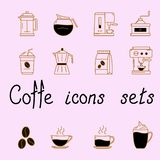 Set of icons with coffee vector illustration