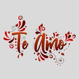 I love you! Te Amo! Red Vector lettering isolated illustration on grey background. With floral elements royalty free illustration