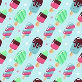 Vector seamless pattern, cute hand drawn ice creams in retro style on dotted background. Childish flat bright vector illustration.  stock illustration