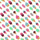 Vector seamless pattern, cute hand drawn ice creams in retro style on dotted background. Childish flat bright vector illustration.  vector illustration