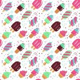 Vector seamless pattern, cute hand drawn ice creams in retro style on dotted background. Childish flat bright vector illustration stock illustration