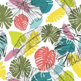 Colorful-khaki leaves pattern on white stock illustration
