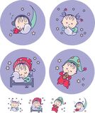 Babies sleep on pillows. Sweet dream. Vector illustration. 4 different color drawings of sleeping children on a purple background and stars