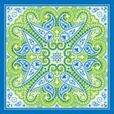 Печать bandana вектора с орнаментом Пейсли Головной платок хлопка или шелка, дизайн картины банданы квадратный, восточный стиль бесплатная иллюстрация