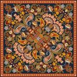 Печать Bandana Пейсли орнамента вектора, silk шарф шеи или стиль дизайна картины банданы квадратный для печати на ткани иллюстрация штока