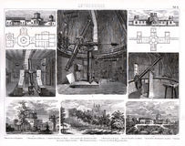 Печать 1874 Bilder обсерваторий и телескопов Стоковые Фотографии RF